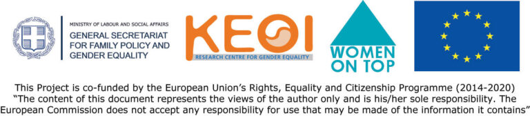 Logo EU, Women on top, Research centre for gender equality, General secretariat for family policy and gender equality